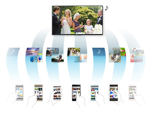 Tivi Led Sony 49X8300D nhận nội dung chia sẻ từ nhiều thiết bị khác