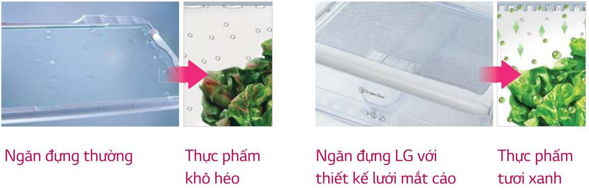 Ngăn rau quả thiết kế rộng rãi có sự cân bằng độ ẩm cao.