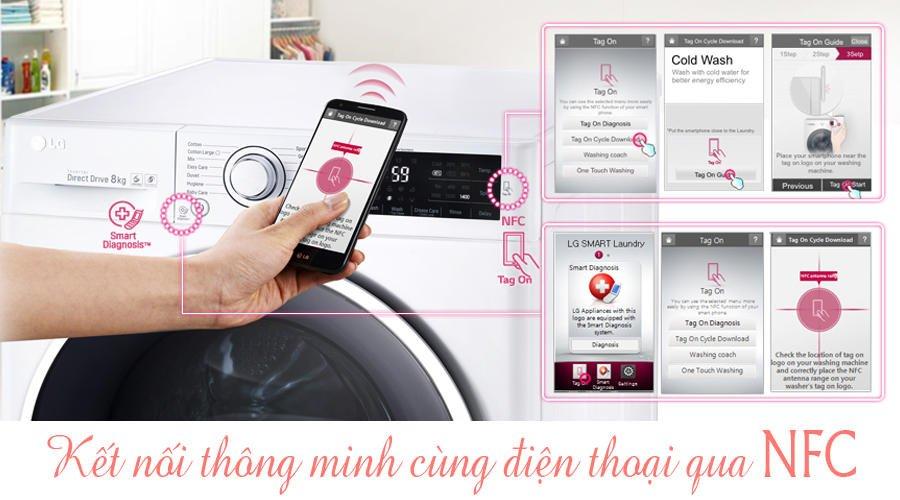 Công nghệ chạm hiện đại qua NFC của máy giặt Inverter F2514DTGW 14Kg