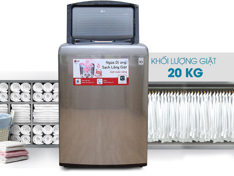 Sự hiện đại và đẳng cấp từ thiết kế bên ngoài của máy giặt lồng đứng LG WF-D2017HD 20kg