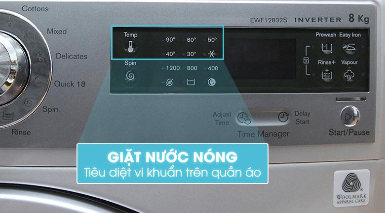 Lợi ích lớn hơn với chức năng giặt nước nóng của máy giặt EWF12832S