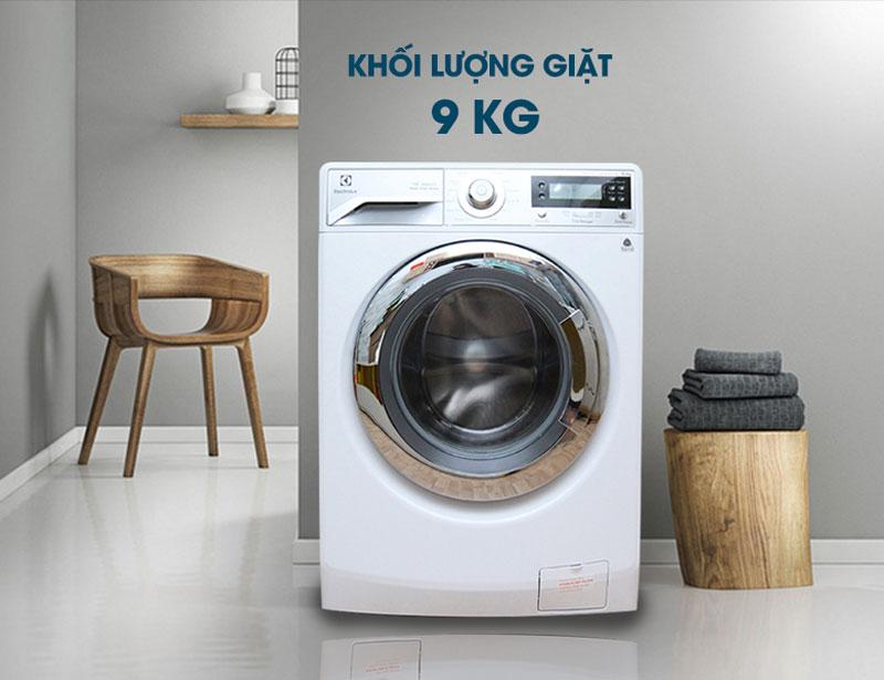 Đạt hiệu quả với khối lượng giặt lên đến 9 Kg