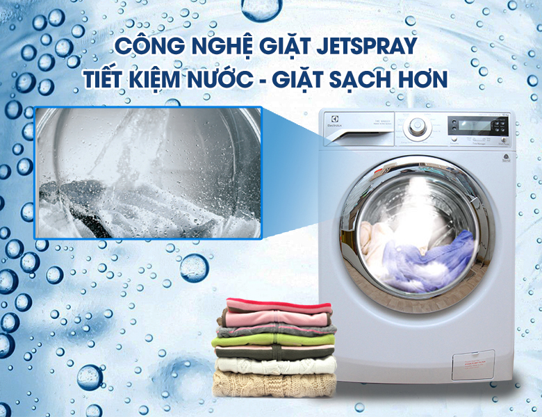 Hệ thống phun nước Jetspray hỗ trợ đánh tan vết bẩn với Máy giặt Electrolux EWF12932