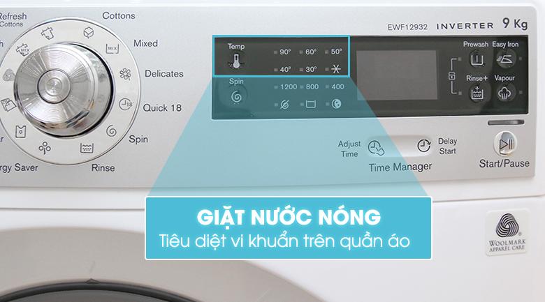 Chức năng giặt nước nóng diệt khuẩn làm mềm sợi vải.