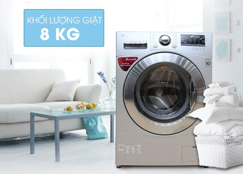 Thiết kế đẹp, sang trọng với máy giặt lồng ngang LG F1408NPRL 8Kg