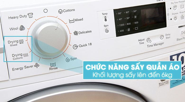 Công nghệ sấy khô tiên tiến với máy giặt EWW12842 8Kg