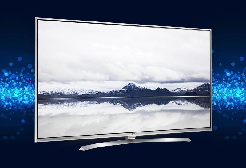 Tivi LG 55UH850T với thiết kế đẳng cấp cùng đường viền sắc sảo, tông màu bạc sang trọng