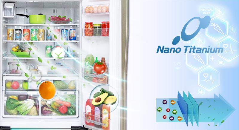 Hiệu quả cao với công nghệ Nano Titanium với tủ lạnh R-W660PGV3