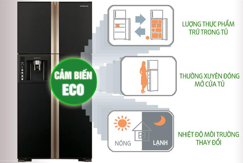 Chế độ tiết kiệm điện tối ưu với tủ lạnh Hitachi 540 lít R-W660PGV3 GBK