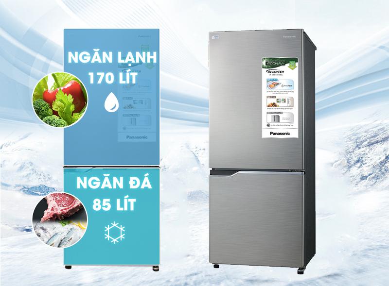 Tiện lợi với thiết kế ngăn đá dưới với tủ lạnh Panasonic NR-BV288QSVN 255 lít
