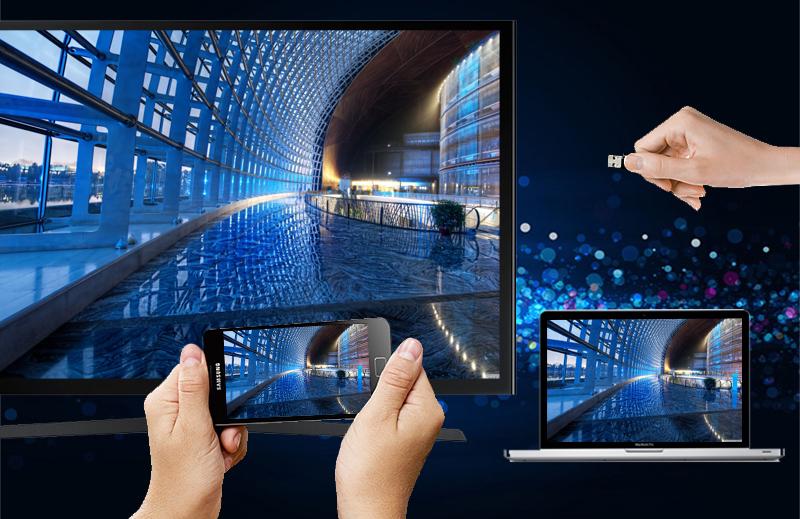 Kết nối tivi Samsung UA50J5200 linh hoạt với nhiều thiết bị giải trí khác như laptop, đầu DVD,…