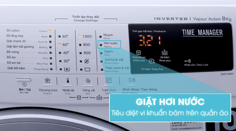 Chế độ giặt hơi nước với máy giặt EWF10844