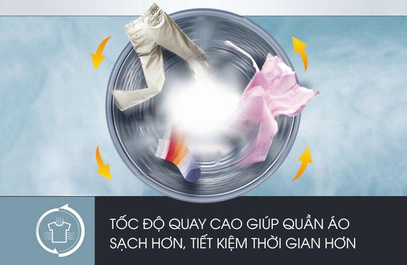 Quay vắt nhanh với máy giặt Electrolux lồng ngang EWF14133