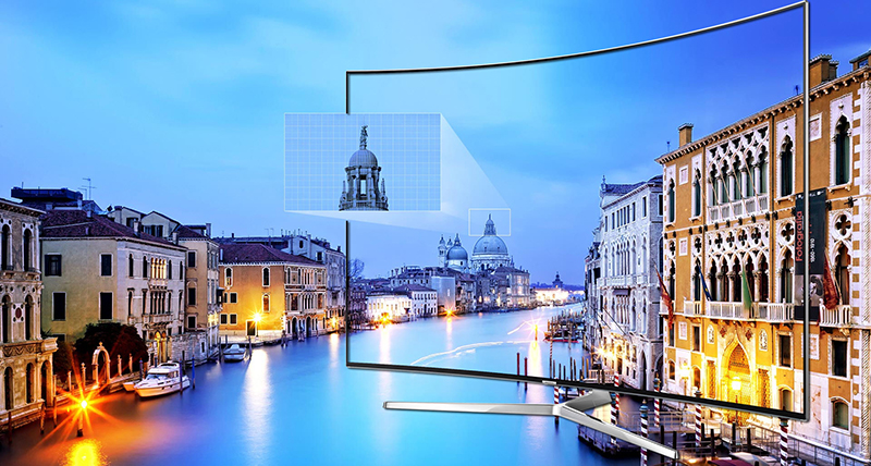 Tích hợp HDR 1000 nits trong Tivi 55KS9000 - Mang tới độ sáng và màu đen tối ưu.