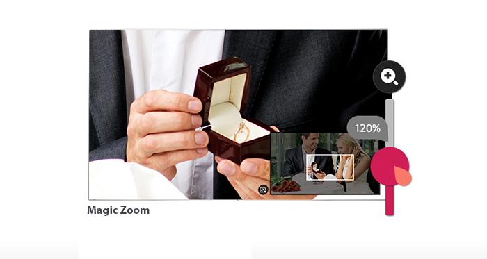 Magic zoom có thể phóng to màn hình, hình ảnh trực tiếp trong khi bạn đang xem
