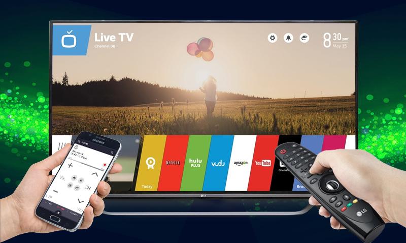 Biến điện thoại thành remote tivi LG 70UF770T với ứng dụng LG TV Plus, LG TV Remote,