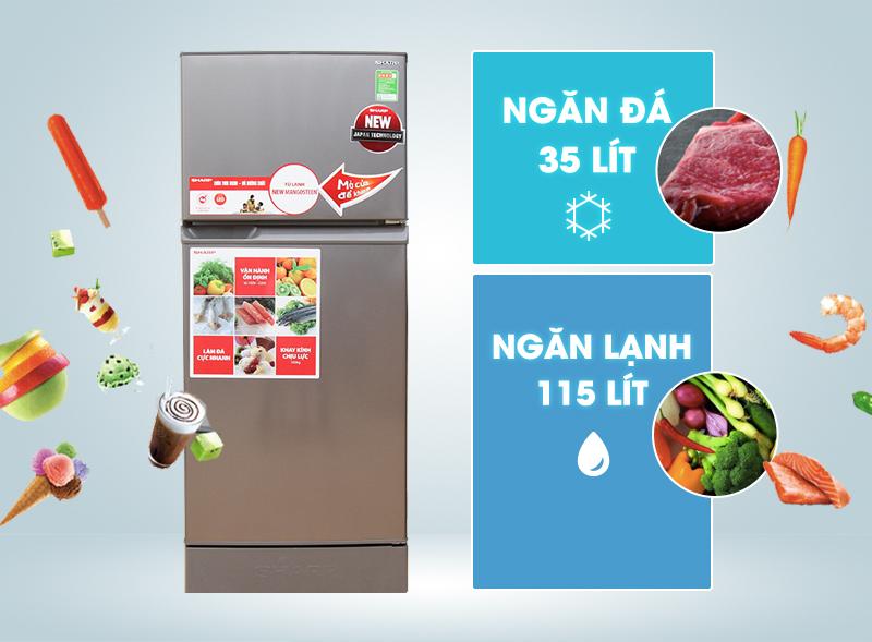 Tủ lạnh Sharp SJ-174E-BS 165 lít – chiếc tủ lạnh bán chạy nhất hiện nay
