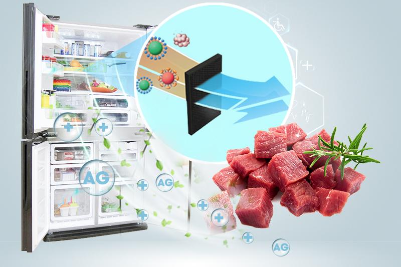 Bộ khử mùi loại sạch vi khuẩn, ngăn ngừa mùi hôi với tủ lạnh Sharp SJ-FX630V-ST