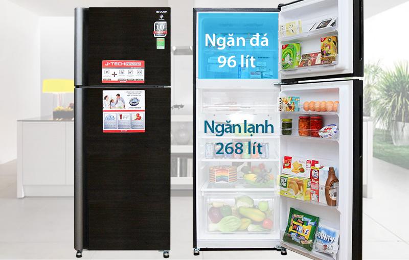 Tủ lạnh Sharp 397 lít SJ-XP400PG-BK thiết kế ngăn đá trên tiện lợi