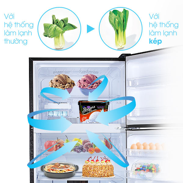 Tủ lạnh Sharp SJ-XP400PG-SL làm lạnh kép bằng Hybrid Cooling