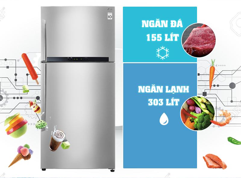 Thiết kế đẹp mắt, trang nhã với Tủ lạnh LG GR- L602S 458 lít