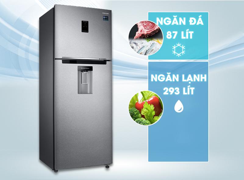 Thiết kế sang trọng với tông màu bạc xám sang trọng với tủ lạnh Samsung RT38K5982SL/SV