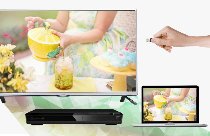 Kết nối LG 42LF550T với nhiều thiết bị như laptop, đầu DVD, USB,…