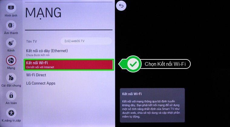Cách kết nối internet cho Smart Tivi LG 4