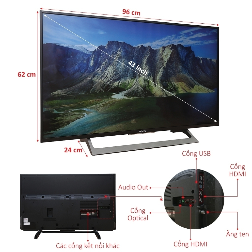 Rất nhiều tính năng kết nối đa dạng, phong phú của tivi sony 43X8000E