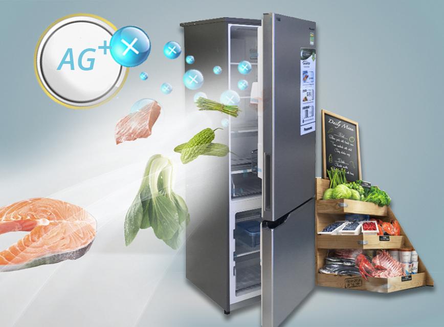 Không gian tủ lạnh sạch sẽ với khả năng khử mùi tốt với Tủ lạnh Panasonic 405 lít NR-BX468VSVN