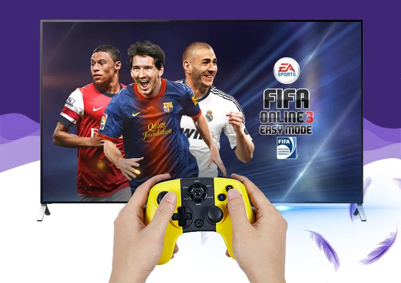Trải nghiệm game yêu thích cùng bạn bè nhờ khả năng kết nối tốt bốn tay cầm chơi game trên tivi