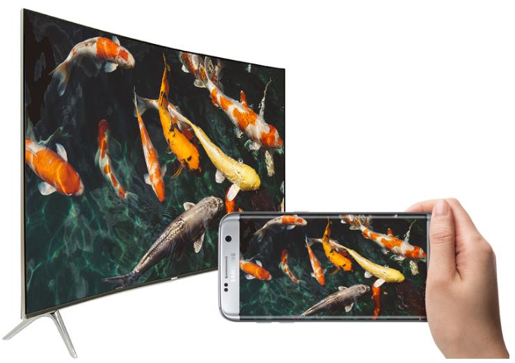 chia sẻ hình ảnh từ điện thoại lên màn hình rộng lớn của tivi 55MU8000