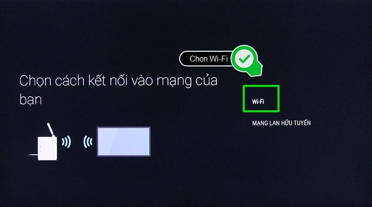 Chọn hình kết nối mạng Wifi