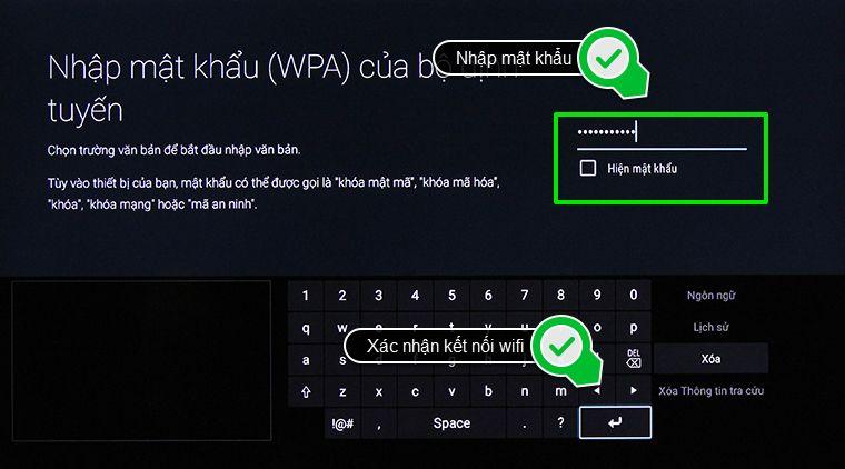 Nhập mật khẩu vào mạng bạn muốn kết nối