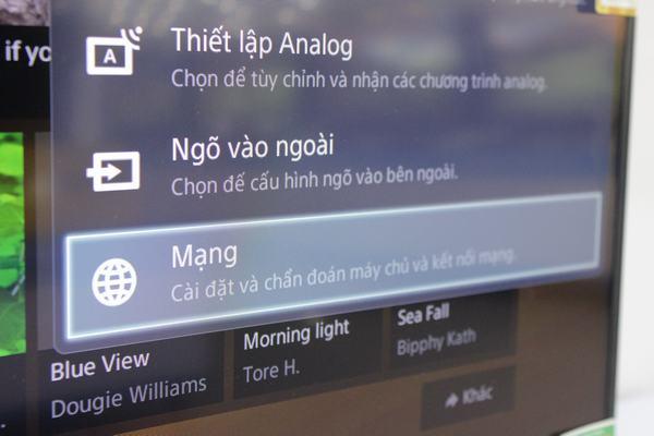 Chọn vào mục mạng để chọn cài đặt mạng trên Smart tivi Sony (nguồn ảnh: internet)