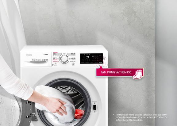 Có thể cho thêm quần áo khi đang giặt
