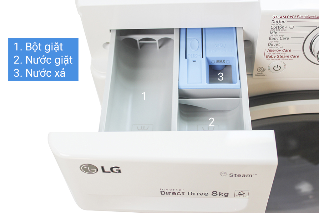Khay đựng bột giặt riêng biệt của dòng máy giặt LG Inverter FC1408S4W1
