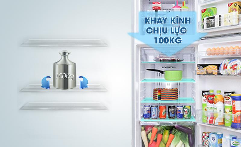 Khay kính chắc chắn của tủ lạnh Inverter LG GR-L402BS