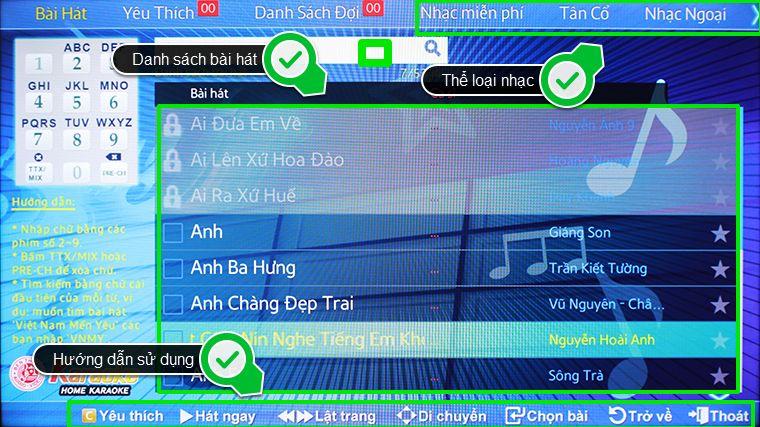 Giao diện hát karaoke trên smart tivi samsung