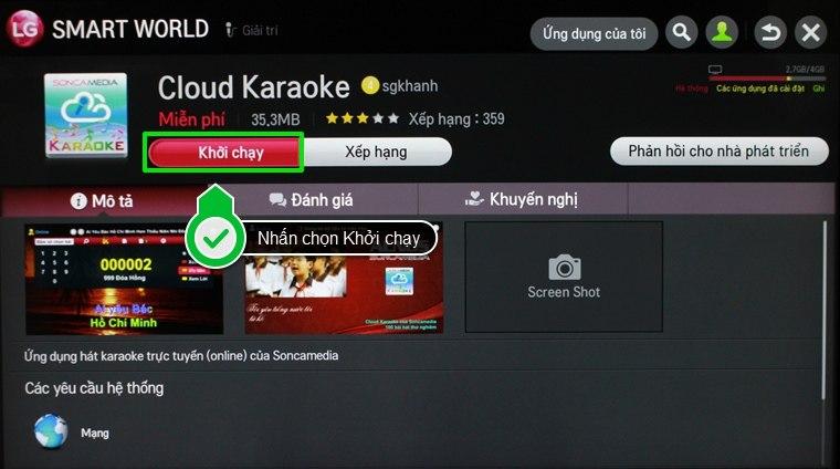 Tải ứng dụng Cloud Karaoke về smart tivi LG rồi tiến hành cài đặt