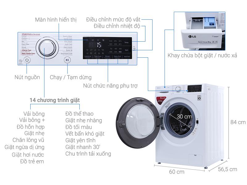 Có đến 14 chương trình giặt đa dạng với máy giặt LG FC1408S4W2