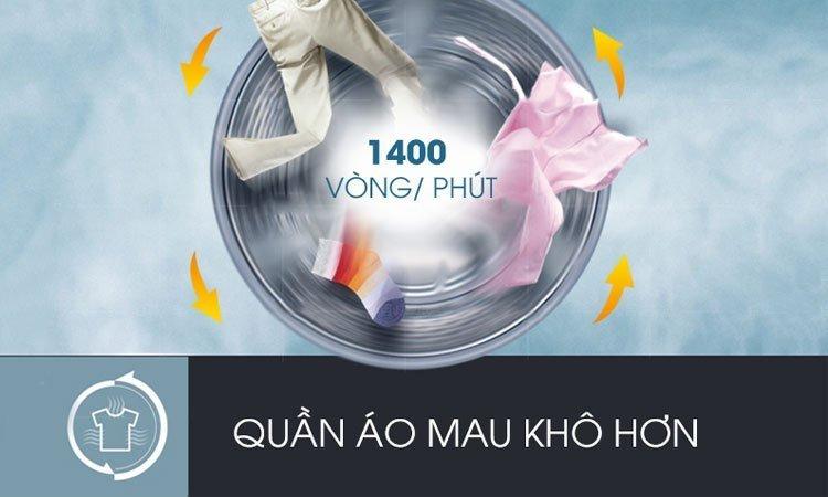 Tốc độ quay vắt là 1400 vòng/phút với máy giặt Inverter LG FC1408S4W2