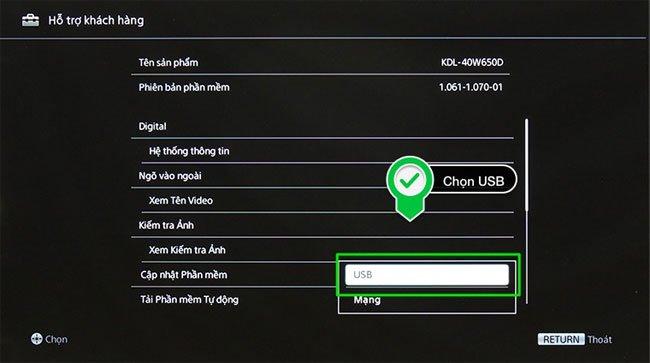 Chọn mục tải vào USB