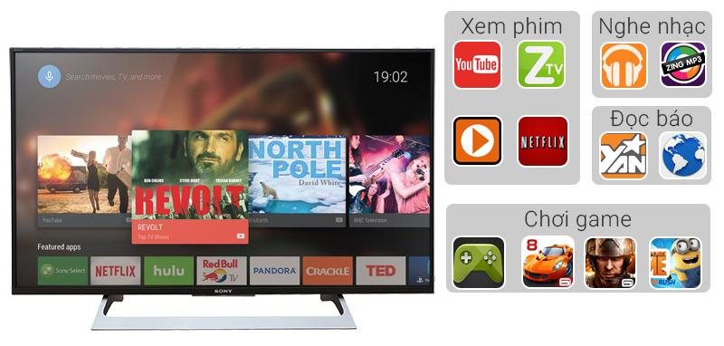 Dễ dàng sử dụng với hệ điều hành Android với tivi 55 inch 55X8000