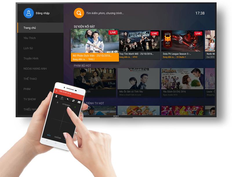 Tích hợp tính năng Sony Video & TV SideView giúp người dùng dễ dàng điều chỉnh tivi qua điện thoại và máy tính bảng.