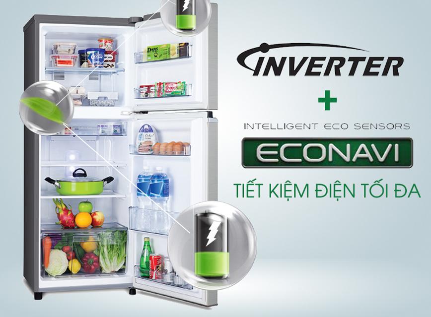 Công nghệ Inverter và Econavi tiết kiệm điện tối đa với tủ lạnh NR-BL308PKVN