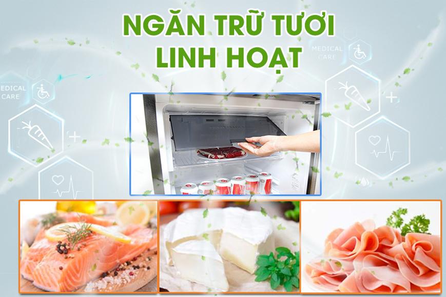 Ngăn trữ tươi đa tác dụng với Tủ lạnh Sharp SJ-X201E-SL