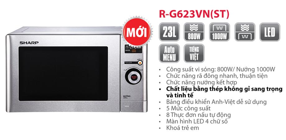 Thông số kỹ thuật của thiết bị lò vi sóng Sharp R-G623VN