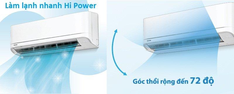 Điều hòa Toshiba RAS-H18QKSG-V sở hữu công nghệ làm lạnh nhanh chóng Hi Power