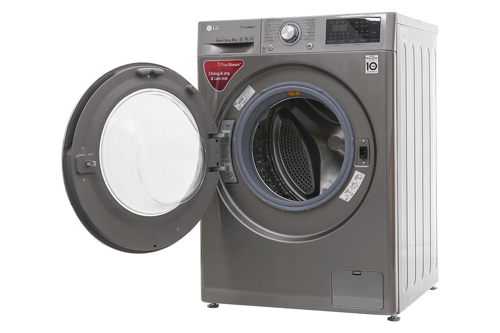 Chiếc máy giặt màu xám sang trọng của máy giặt LG inverter 9 kg FC1409S2E